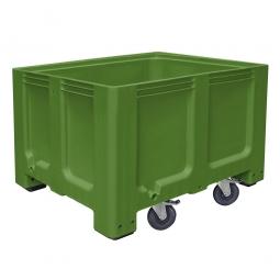 Großbox / Großbehälter mit 4 Füße und 4 Lenkrollen, 2 mit Feststellbremsen, 610 Liter, LxBxH 1200 x 1000 x 835 mm, Boden/Wände geschlossen, grün