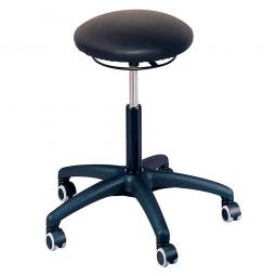 Arbeitsdrehhocker mit 5 Rollen, Sitz-Ø 350 mm, Polster im Lederlook, Farbe schwarz, Belastbar bis 120 kg