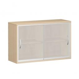 Glas-Schiebetürschrank PRO 2 Ordnerhöhen, Ahorn, BxHxT 1200x768x425 mm