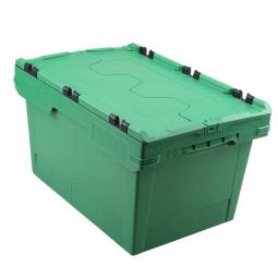 Universal Klappdeckelbox, verplompbar, LxBxH 600 x 400 x 300 mm, 47 Liter, grün