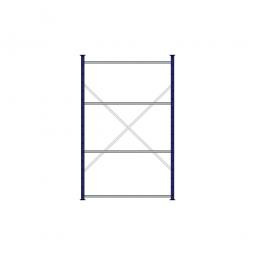 Fachbodenregal Flex mit 4 Fachböden, Stecksystem, kunststoffbeschichtet, BxTxH 1270 x 415 x 2000 mm, Tragkraft 125 kg/Boden
