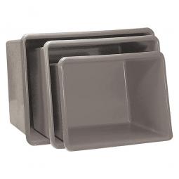 Rechteckbehälter aus GFK, Inhalt 100 Liter, grau, LxBxH 880x580x290 mm, Gewicht 5 kg