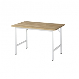 Arbeitstisch mit Massivbuche-Tischplatte, BxTxH 1250x1000x800-850 mm, Gestell lichtgrau RAL 7035