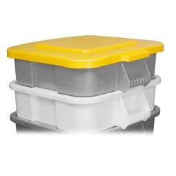 Deckel für Mehrzweckbehälter eckig, 106 Liter, LxB 545x545 mm, gelb, Polyethylen-Kunststoff (PE)