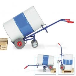 Fasskarre mit Luftbereifung, BxH 700 x 1600 mm, 2 Stützräder, Tragkraft 250 kg