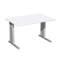Schreibtisch PREMIUM höhenverstellbar, Rechteck, Weiß/Silber, BxTxH 1200x800x680-820 mm