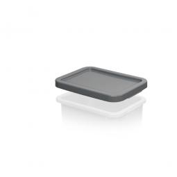 Stülpdeckel für Euro-Schwerlastbehälter, grau, LxB 400x300 mm, Polyethylen-Kunststoff (PE-HD)