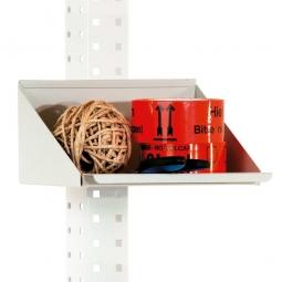 Ablagebox, lichtgrau, BxTxH 245x200x120 mm, Befestigung an Seitenholmen, für Kleinteile / 2 Sichtboxen Gr. 2