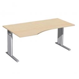 Schreibtisch PREMIUM höhenverstellbar, links, Ahorn/Silber, BxTxH 1600x800/1000x680-820 mm