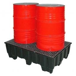 Sicherheits-Auffangwanne aus schwarzem Kunststoff, LxBxH 1230 x 830 x 400 mm. Tragkraft: 1000 kg