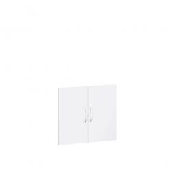 Flügeltüren FLEX für 2 Ordnerhöhen, weiß, Breite 800 mm, mit Metallscharnieren und Türdämpfern