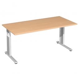 Schreibtisch ELEGANCE feste Höhe, Dekor Buche, Gestell Silber, BxTxH 1600x800x720 mm