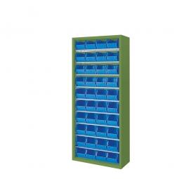 Schrank mit Sichtboxen, ohne Türen, HxBxT 1690x700x300 mm, resedagrün RAL 6011