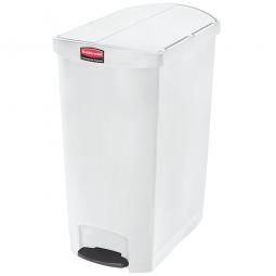 Tretabfalleimer SlimJim, 90 Liter, weiß, LxBxH 638x404x814 mm, Polyethylen, Pedal an der Schmalseite