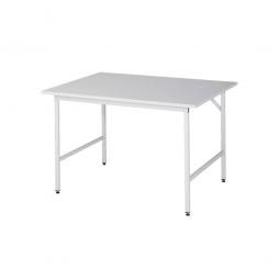 Arbeitstisch mit Melaminharz-Tischplatte, BxTxH 1250x1000x800-850 mm, Gestell lichtgrau RAL 7035