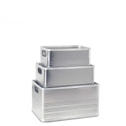 Aluminium-Kästen-Set, je 1x 29, 50, 79 Liter