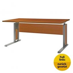 Verkettungs-Schreibtisch, Gestell silber, Platte Kirsche, BxTxH 1600x800x680-820 mm