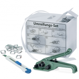 Umreifungs-Komplett-Set in der Spenderbox, mit Bandspanner, 1 Rolle Polyesterband 200 m lang, 16 mm breit