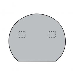 Rund-Anbautisch mit 2 Stützfüßen, silber, Lichtgrau, BxTxH 1000x800x680-760 mm