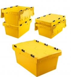 5x Universal Klappdeckelboxen, verplompbar, LxBxH 600 x 400 x 300 mm, 47 Liter, gelb