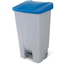 Tret-Abfallbehälter mit Rollen, PP, BxTxH 510 x 430 x 880 mm, 120 Liter, grau/blau