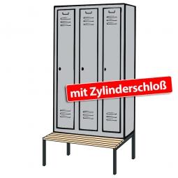 Kleiderspind mit untergebauter Sitzbank und Zylinderschloss, HxBxT 2090x1200x500/815 mm