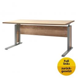 Verkettungs-Schreibtisch, Gestell silber, Platte Wildeiche, BxTxH 1600x800x680-820 mm