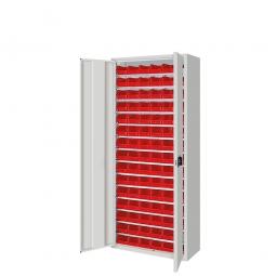 Schrank mit Sichtboxen, mit Türen, HxBxT 1690x700x300 mm, lichtgrau RAL 7035