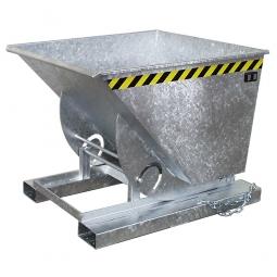 Kippbehälter mit Abrollsystem, Inhalt 0,50 m³, LxBxH 1420x1008x1070 mm, Tragkraft 1000 kg, verzinkt