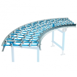 Röllchenbahn-Kurve 90°, leichte Ausführung, bis 20 kg, Kunststoff-Röllchen Ø 48 mm, Achsabstand 75 mm, B 500 mm
