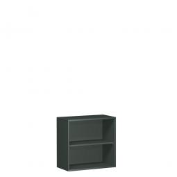Büroregal PRO, 2 Ordnerhöhen, graphit, BxTxH 1200x425x768 mm