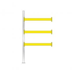 Paletten-Anbauregal für 8 Europaletten, Tragbalkenebenen mit 38 mm Spanplattenböden, Fachlast 2200 kg/Tragbalkenpaar, BxTxH 1885 x 1110 x 3500 mm