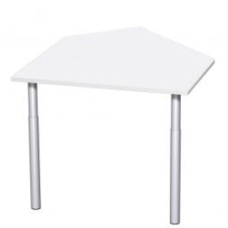 Datenanbautisch PREMIUM rechts, Weiß/Silber, BxTxH 1060x1225x680-820 mm, höhenverstellbar