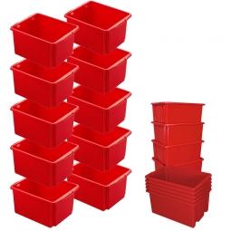 10x Dreh- und Stapelbehälter, Spar-Set, LxBxH 455 x 360 x 245 mm, 32 Liter, rot