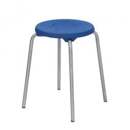 Edelstahl-Stapelhocker, Sitzhöhe 500 mm, Sitz- u. Rückenlehne aus Polyurethanschaum, blau