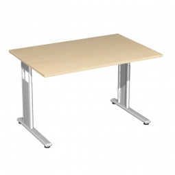 Schreibtisch ELEGANCE feste Höhe, Dekor Ahorn, Gestell Silber, BxTxH 1200x800x720 mm