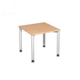 Schreibtisch Komfort, Gestell silber, Dekor Buche, , BxTxH 800x800x720 mm