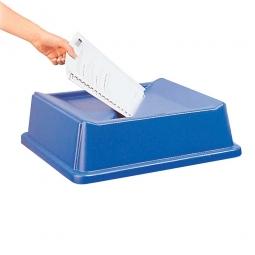 Deckel mit Papiereinwurf, blau, LxBxH 510 x 510 x 160 mm