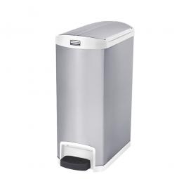Tretabfalleimer SlimJim, 50 Liter, Edelstahl, weiß, LxBxH 576x295x733 mm, Pedal an der Schmalseite