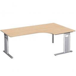 Schreibtisch PREMIUM, Tischansatz rechts, Buche/Silber, BxTxH 2000x800/1200x680-820 mm