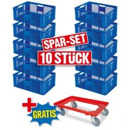 10x Euro-Stapelbehälter + 1 Transportroller GRATIS, Farbe blau, LxBxH 600 x 400 x 240 mm
