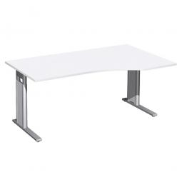 Schreibtisch PREMIUM höhenverstellbar, rechts, Weiß/Silber, BxTxH 1600x800/1000x680-820 mm