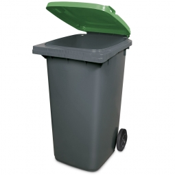 240 Liter MGB, Müllbehälter in anthrazit mit grünem Deckel