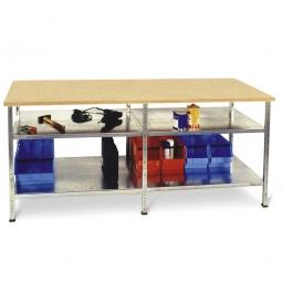 Arbeits- und Packtisch mit Arbeitsplatte, mit 4 Fachböden, BxTxH 2400 x 720 x 890 mm