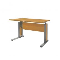 Schreibtisch mit C-Fußgestell, Farbe silber, Platte Buche, BxTxH 800x800x680-820 mm