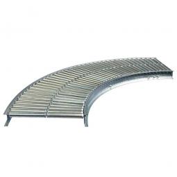 Klein-Rollenbahnkurve 90°, Innenradius: 800 mm, Bahnbreite: 500 mm, Achsabstand: 37,5 mm, Tragrollen Ø 30x1,0 mm