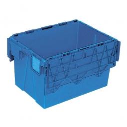 Mehrwegbehälter mit anscharnierten Deckeln, ALC64365, blau, LxBxH 600x400x365 mm