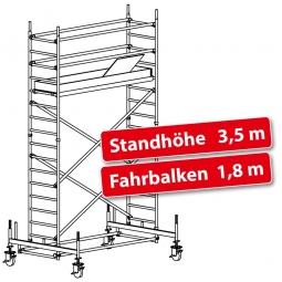 Fahrgerüst Plettac Alu Star 80 mit Fahrbalken, Arbeitshöhe 5,5 m, Gerüsthöhe 4,75 m, Standhöhe 3,5 m