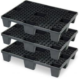 3er-Sparset Leichtpaletten im halben Euromaß, LxBxH 800 x 600 x 140 mm, Deckfläche durchbrochen, schwarz