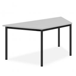 Trapeztisch, Gestell schwarz, Platte lichtgrau, BxTxH 1600x800x720 mm
